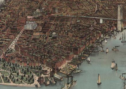 1883 City of New York By Currier And Ives (Detail). Print/Poster (4920)